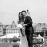 mariés à Paris, portrait en noir et blanc